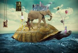 creative writing ideas for children and teenagers, fantastic picture with elephant and other animals on top of a giant tortoise