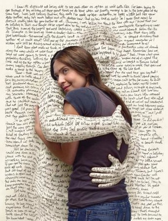 woman embraced by a figure coming through the page of a book